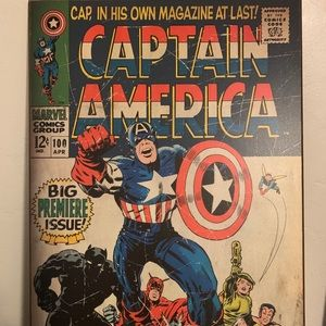 Captain America Comic Book Cover on Wood 13x19